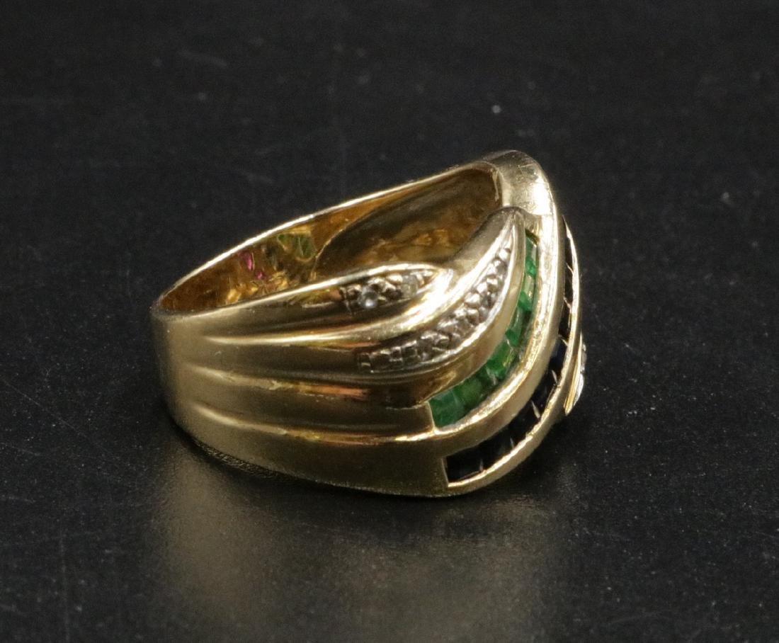 14Kt YG Sapphire, Ruby, Emerald & Diamond Ring - 2