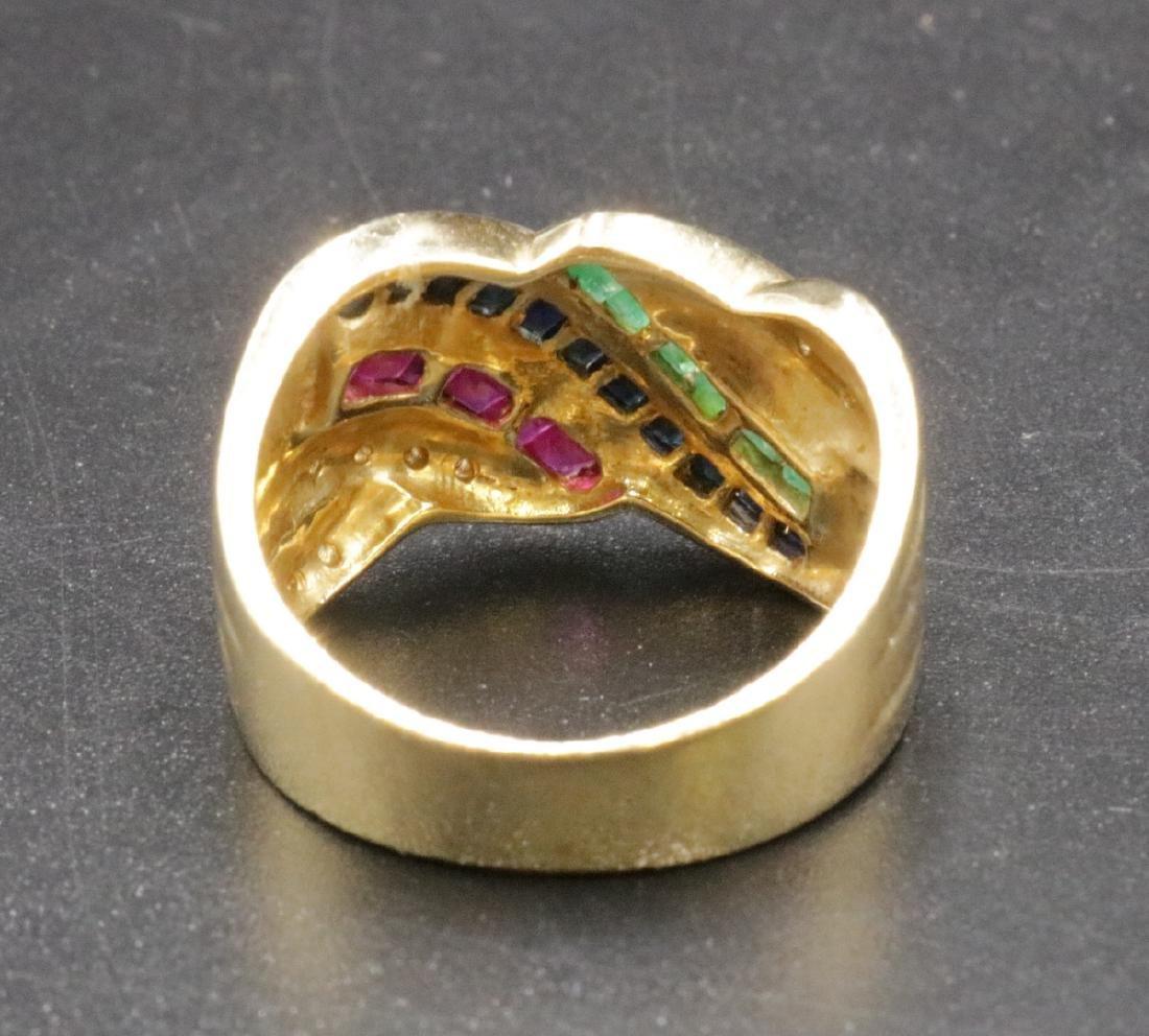 14Kt YG Sapphire, Ruby, Emerald & Diamond Ring - 3