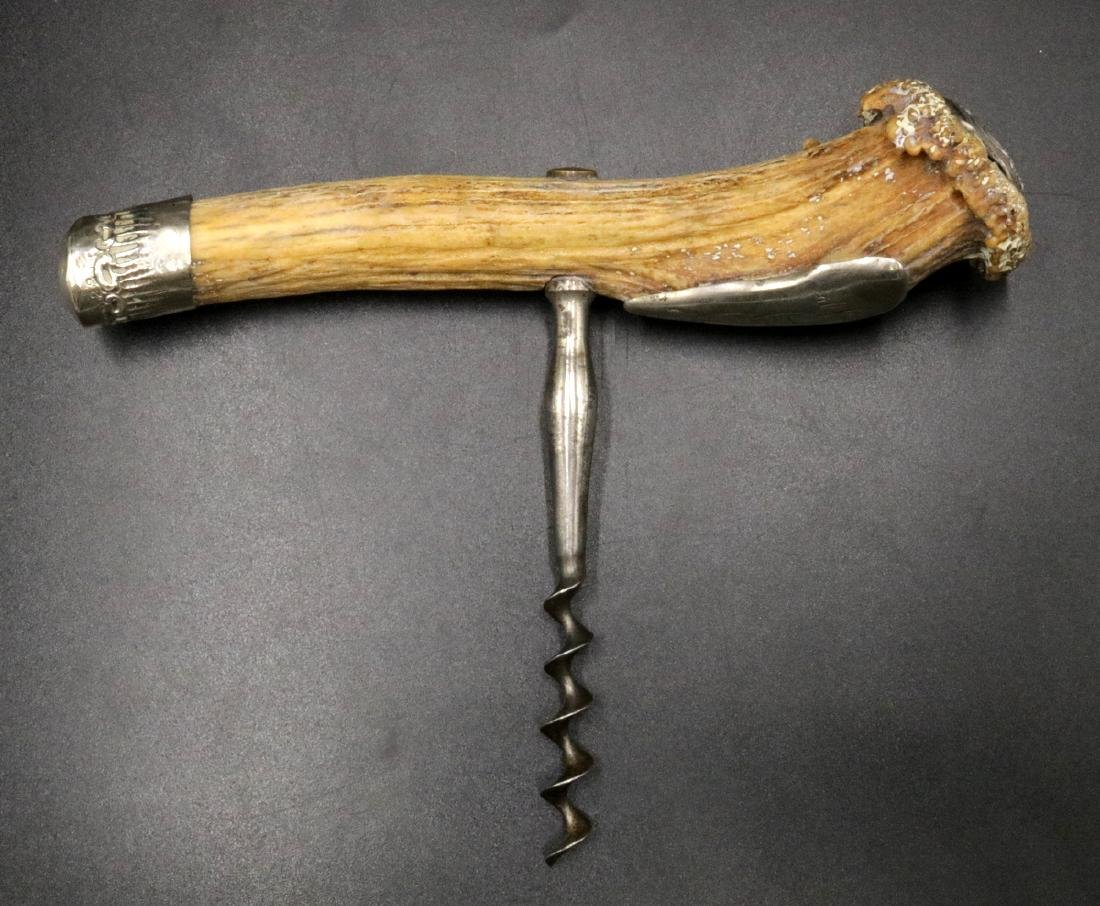 19th C. Sterling Silver & Antler Corkscrew