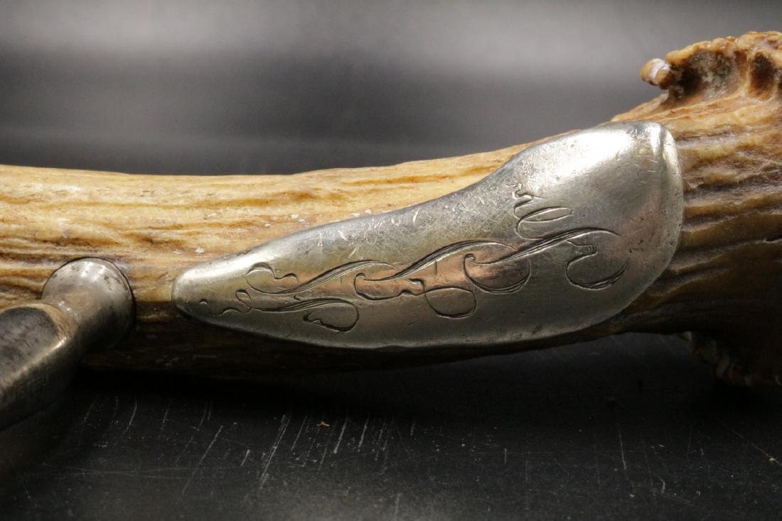19th C. Sterling Silver & Antler Corkscrew - 5