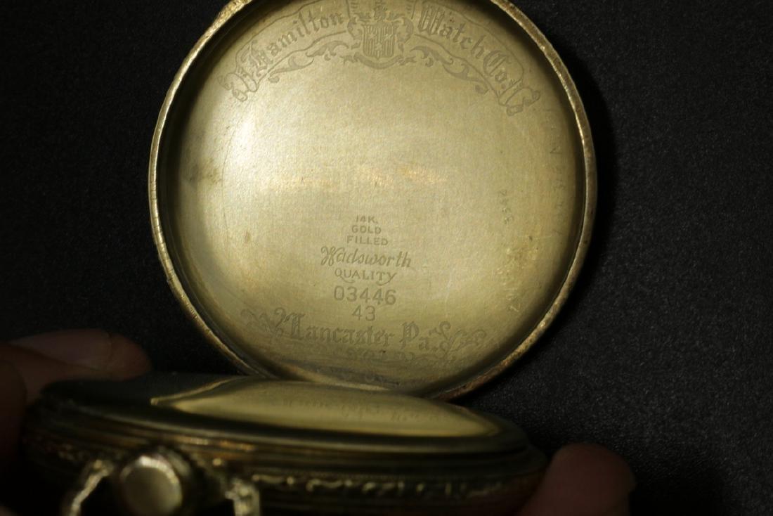 Hamilton 14Kt Gold Filled Pocket Watch - 4
