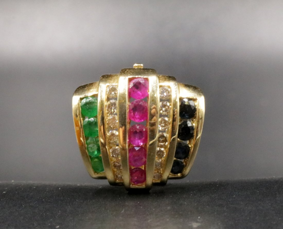 14Kt YG Sapphire, Ruby, Emerald & Diamond Slide Pendant