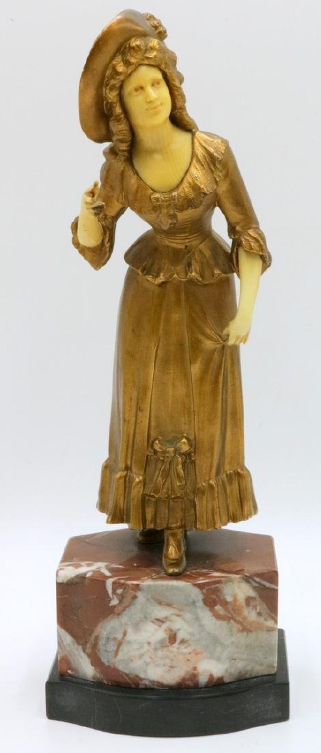 Early 20th C. French Bronze Woman on Marble Base