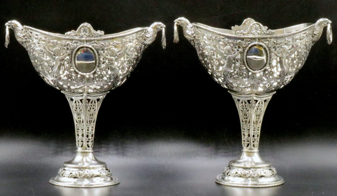 Pair of 18th C. Hanau Pseudo Sterling Footed Compotes