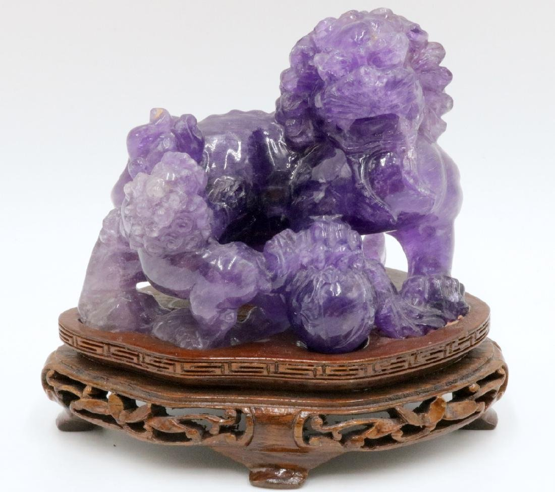Chinese Carved Amethyst Foo Dog Group