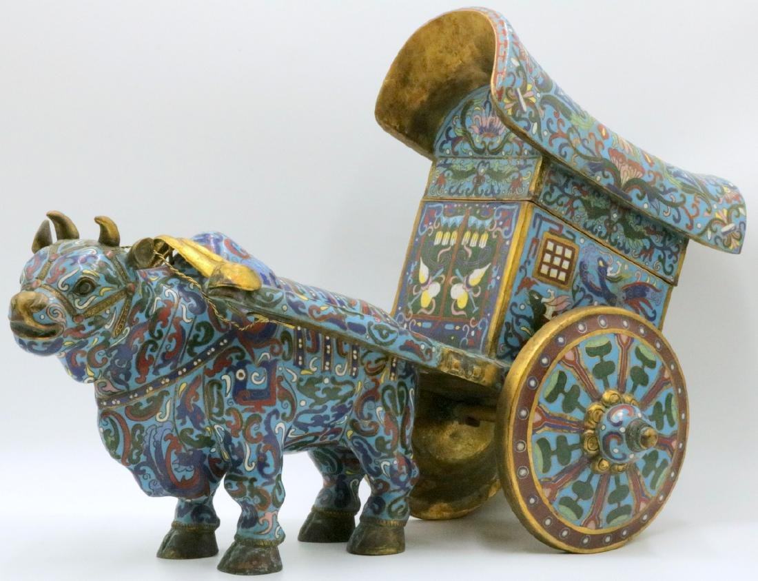 Early 20th C. Chinese Cloisonne Enamel Oxen w/ Cart