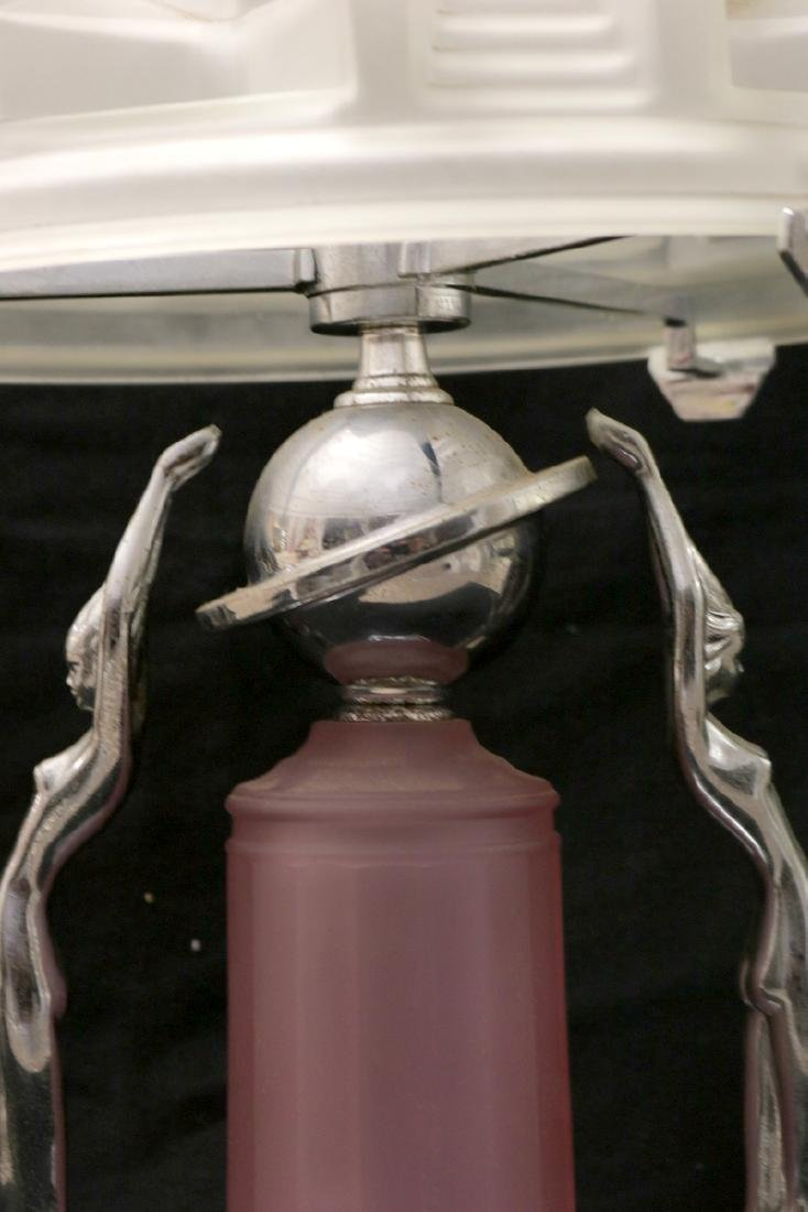 Possibly Frankart Art Deco Chrome & Frosted Glass Lamp - 3