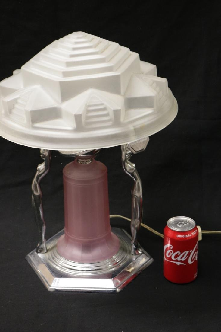 Possibly Frankart Art Deco Chrome & Frosted Glass Lamp - 7