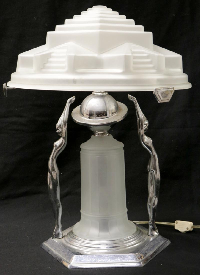 Possibly Frankart Art Deco Chrome & Frosted Glass Lamp