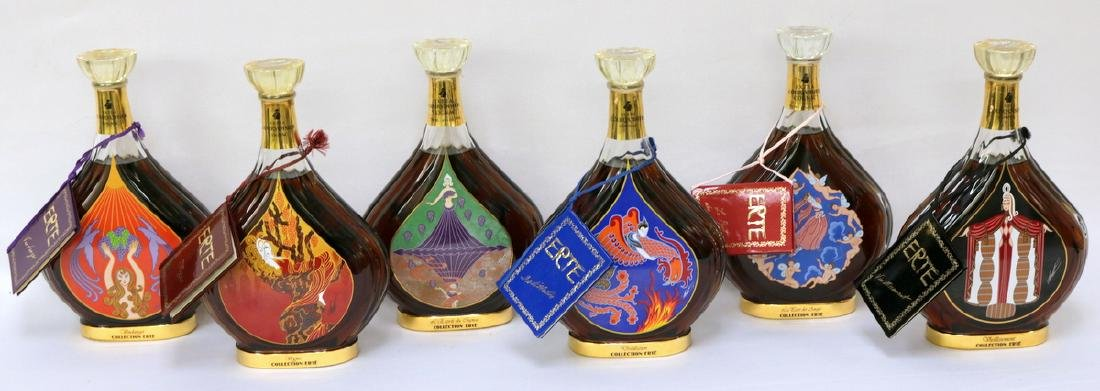 Set of 6 Erte Courvoisier Cognac Bottles