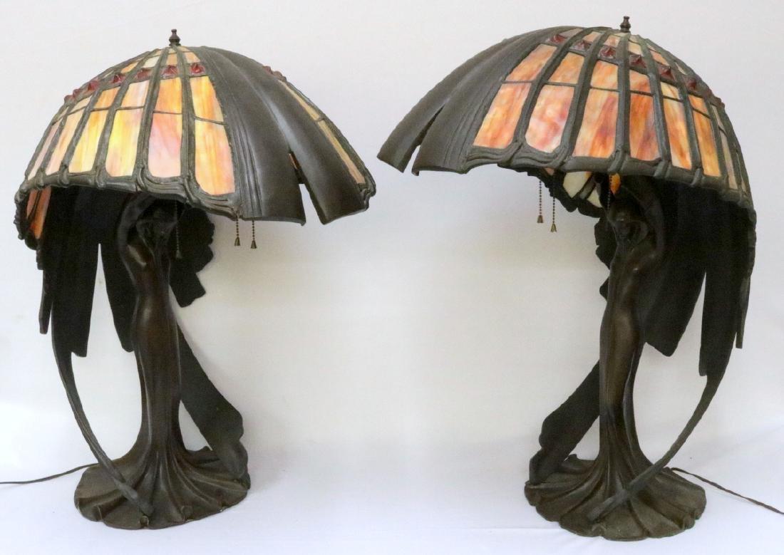 Tiffany Valley Art Nouveau Slag Glass & Bronze Lamps