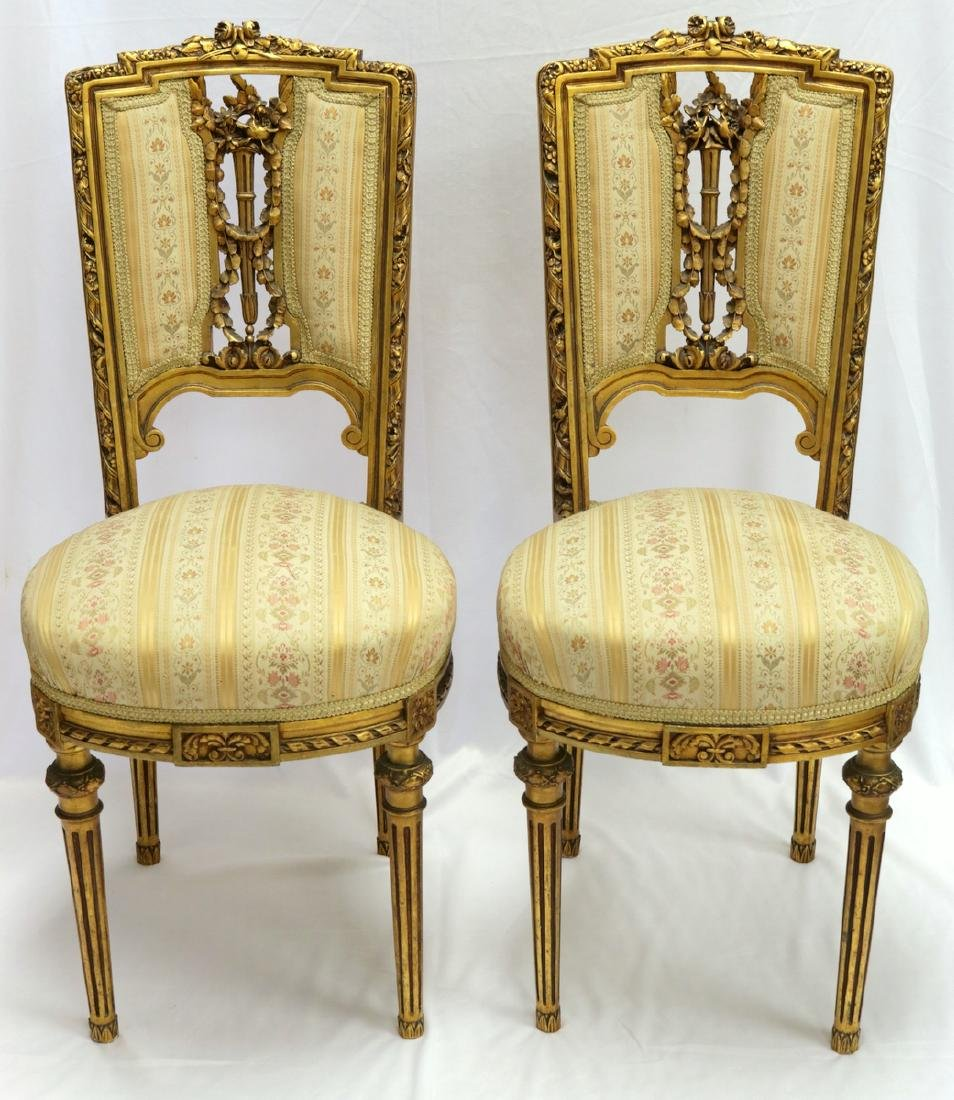 Antique Petite French Empire Gilt Wooden Carved Chairs