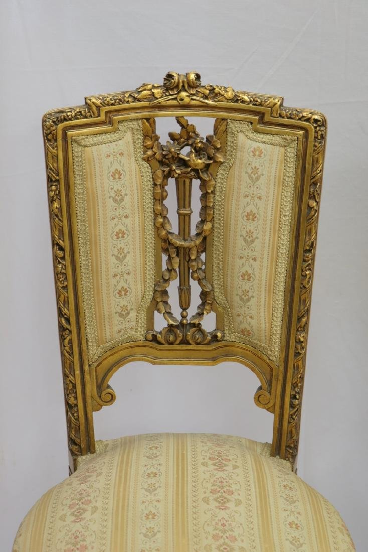 Antique Petite French Empire Gilt Wooden Carved Chairs - 2