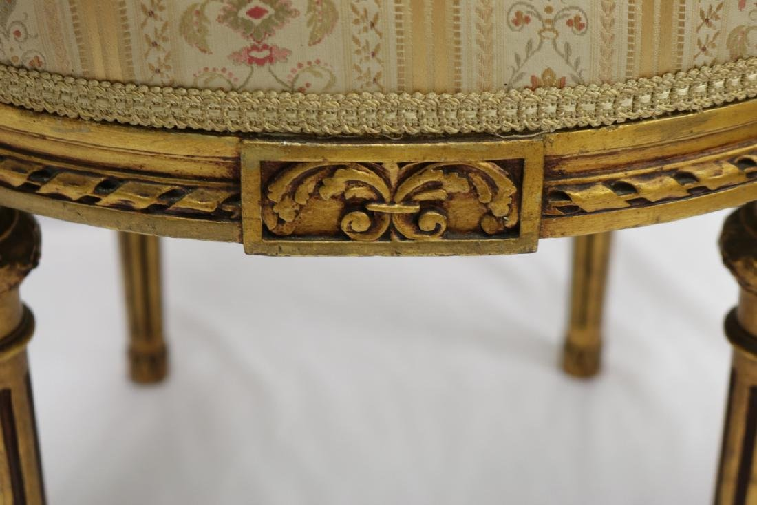 Antique Petite French Empire Gilt Wooden Carved Chairs - 5