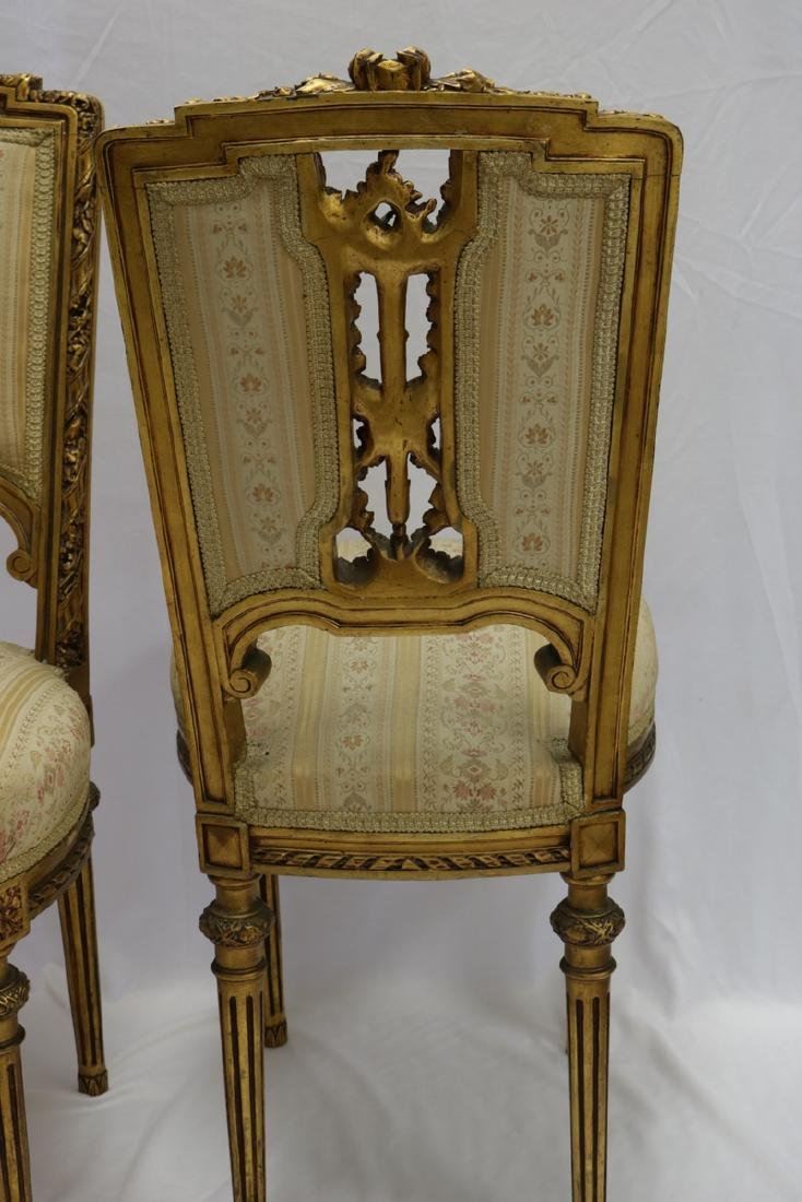 Antique Petite French Empire Gilt Wooden Carved Chairs - 6