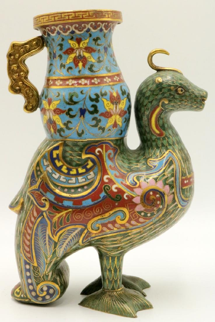 Early 20th C. Chinese Cloisonne Enamel Bird Vase