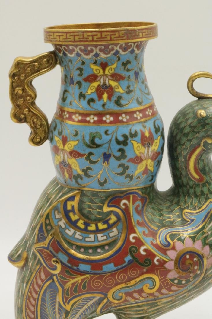Early 20th C. Chinese Cloisonne Enamel Bird Vase - 2