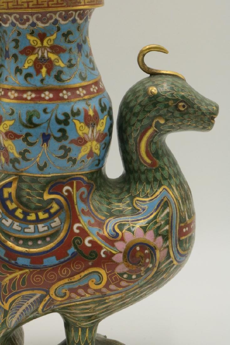 Early 20th C. Chinese Cloisonne Enamel Bird Vase - 3