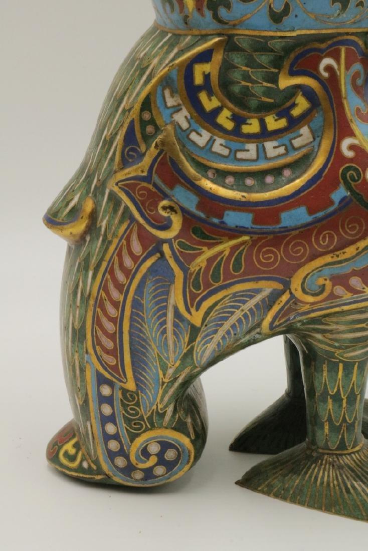 Early 20th C. Chinese Cloisonne Enamel Bird Vase - 4