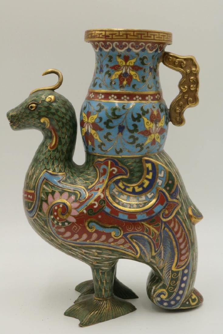 Early 20th C. Chinese Cloisonne Enamel Bird Vase - 6