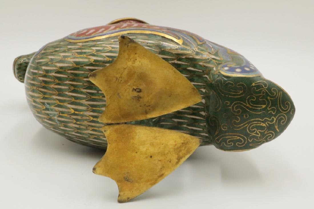 Early 20th C. Chinese Cloisonne Enamel Bird Vase - 7
