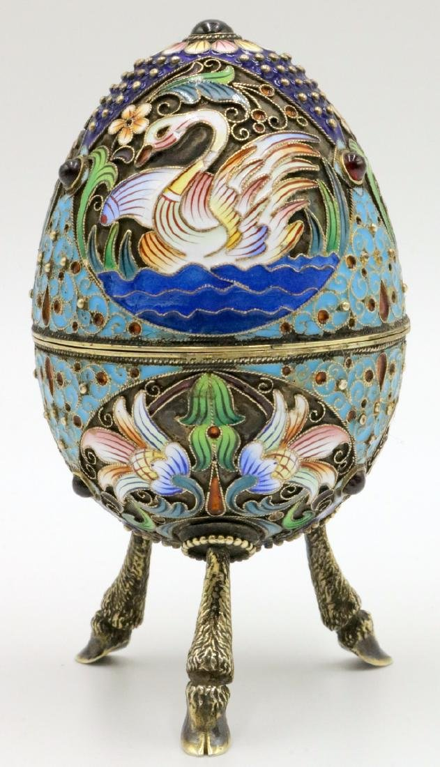 Faberge Russian 84 Silver, Enamel & Ruby Footed Egg