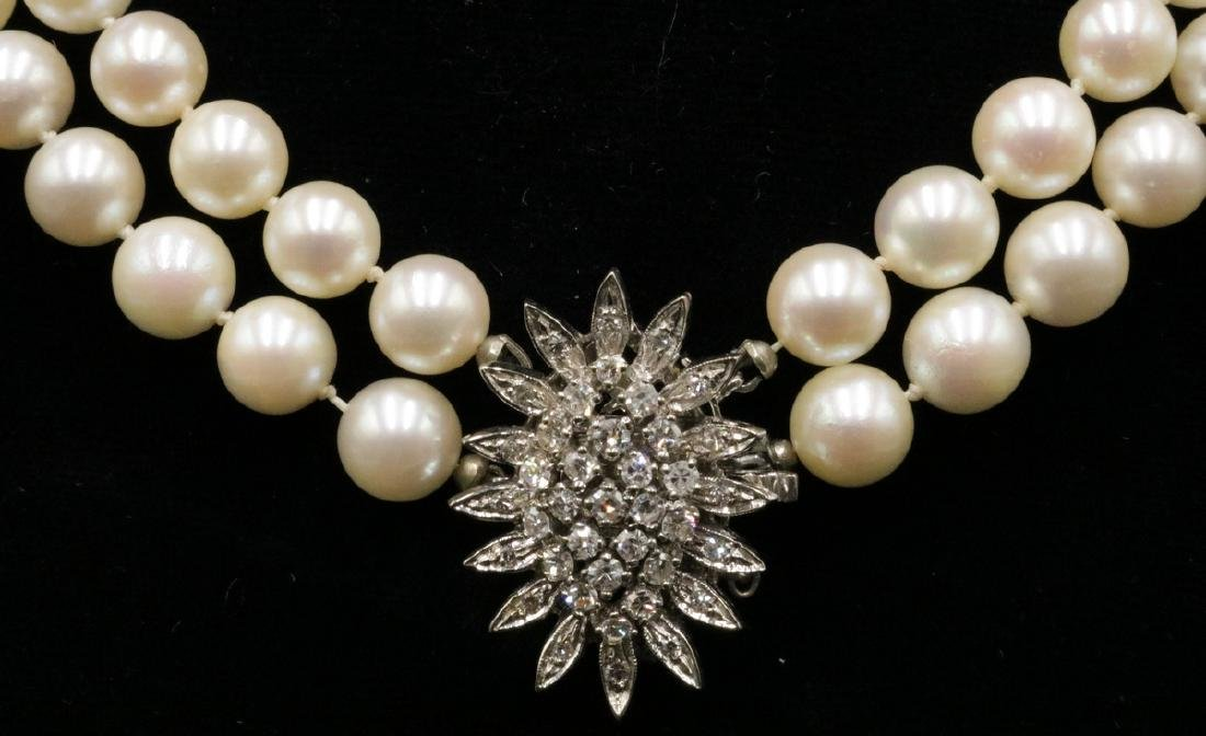 14Kt WG Diamond & 7.5MM Pearl Necklace