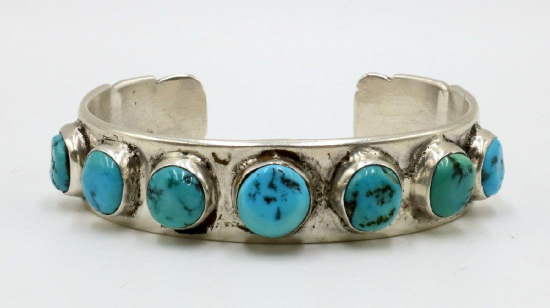 Navajo E. Redhorse Sterling & Turquoise Cuff