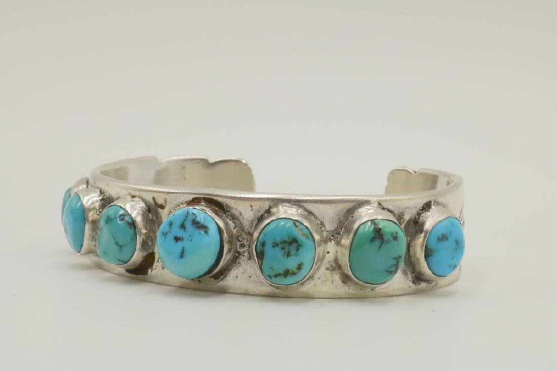 Navajo E. Redhorse Sterling & Turquoise Cuff - 2