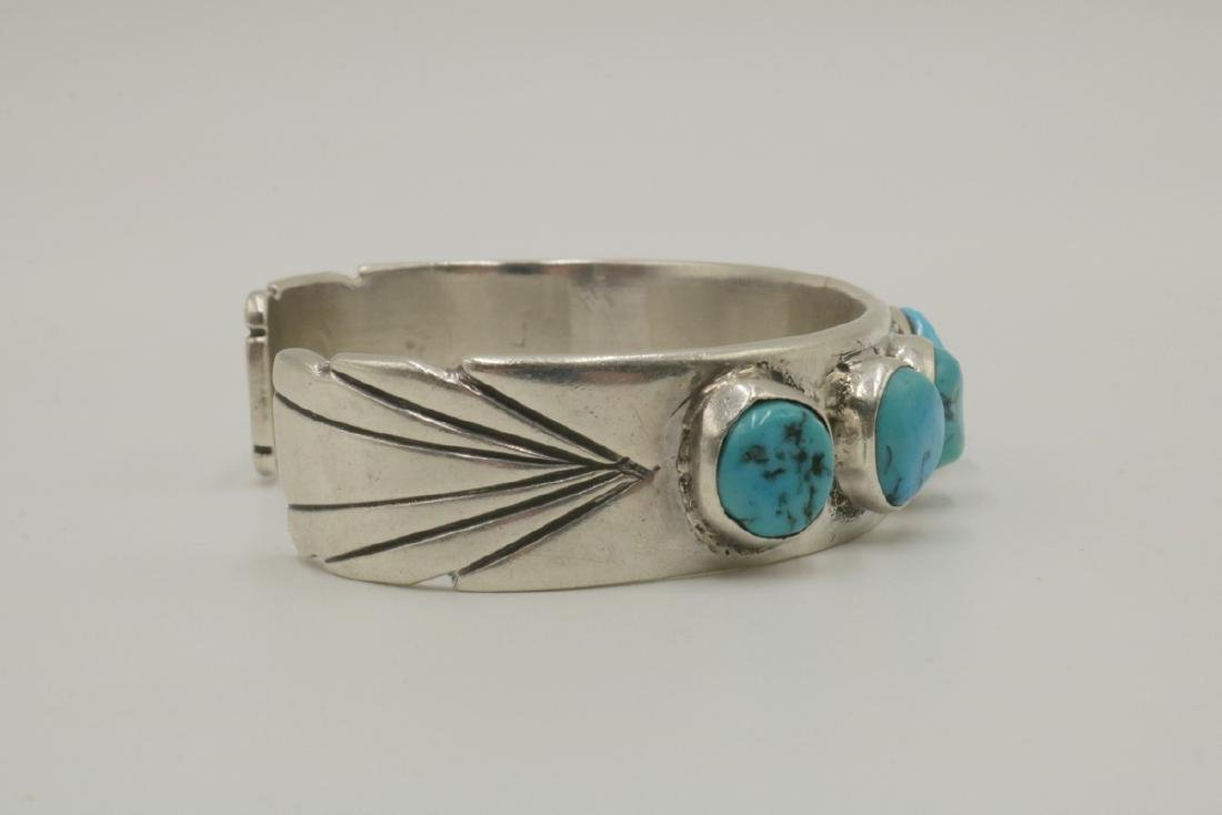 Navajo E. Redhorse Sterling & Turquoise Cuff - 3