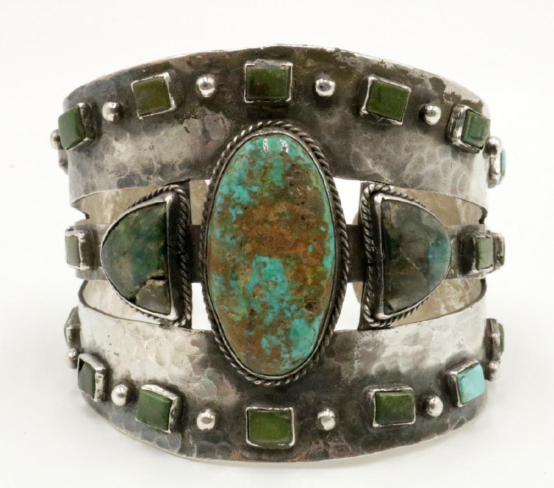 Unique Navajo Sterling & Turquoise Large Cuff
