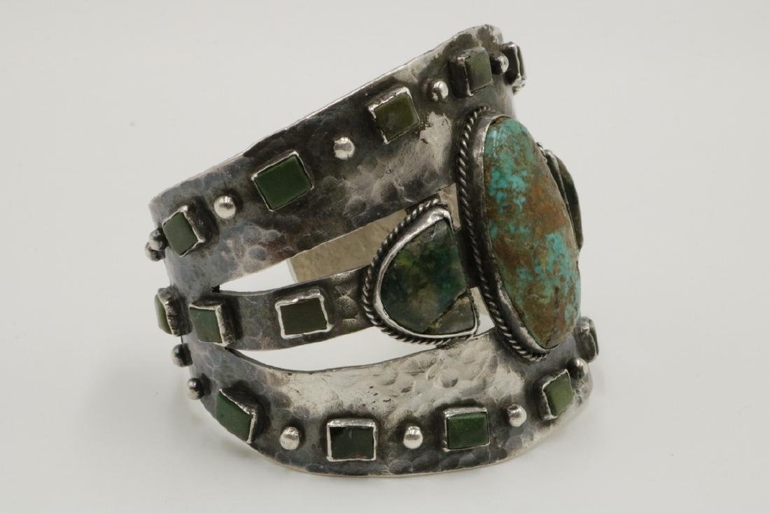 Unique Navajo Sterling & Turquoise Large Cuff - 2