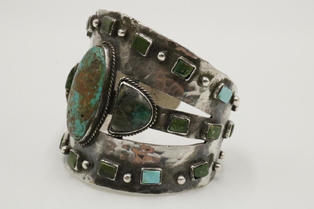 Unique Navajo Sterling & Turquoise Large Cuff - 3