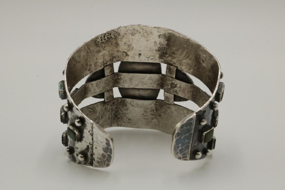 Unique Navajo Sterling & Turquoise Large Cuff - 5