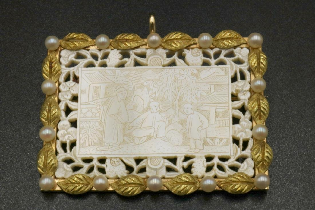 14Kt YG & Carved MOP & Pearl Reticulated Pendant - 2