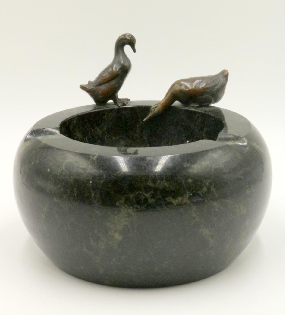 Antique French Duck Bronze & Marble Ashtray