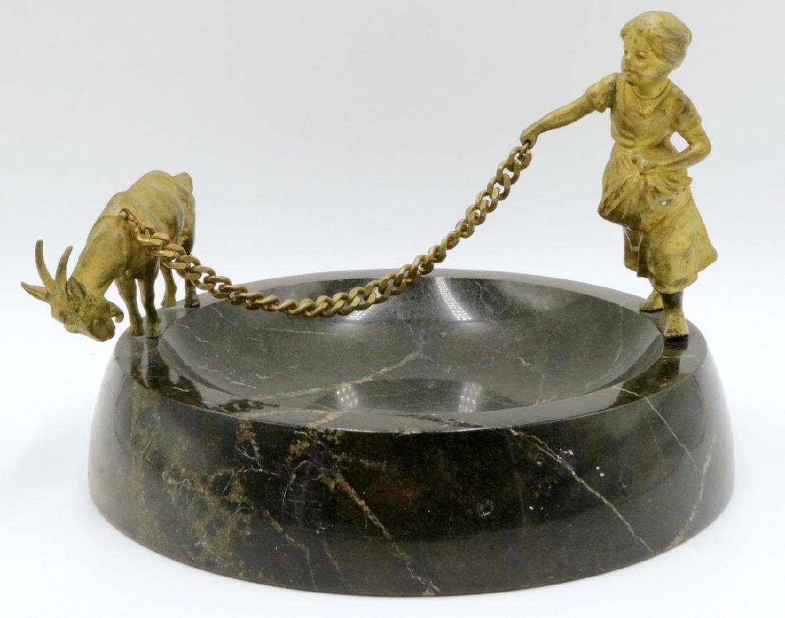 Antique French Dore Bronze & Marble Dish