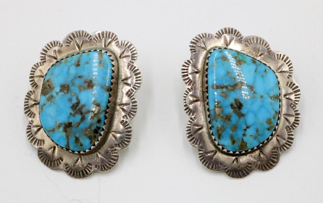 Pair of Navajo Sterling & Turquoise Earrings