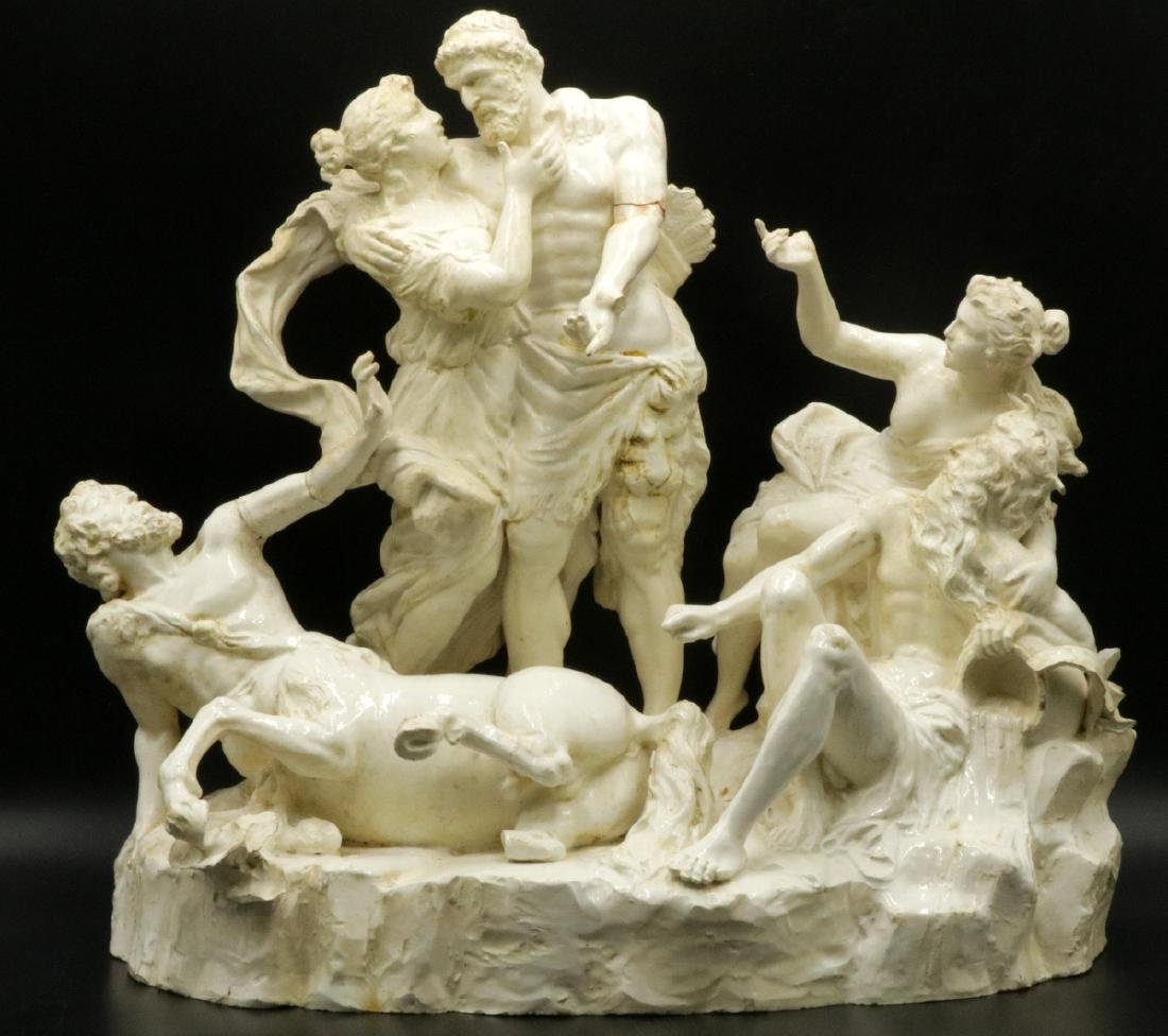 Antique Capodimonte White Porcelain Figural Group