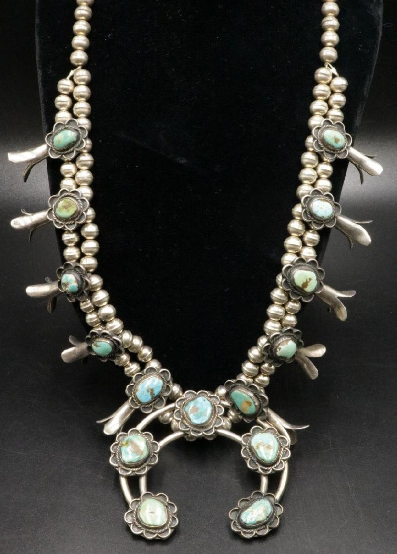 Navajo Turquoise & Sterling Squash Necklace