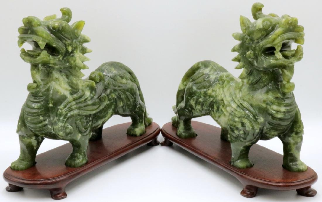Pair of Chinese Spinach Green Jade Foo Dogs