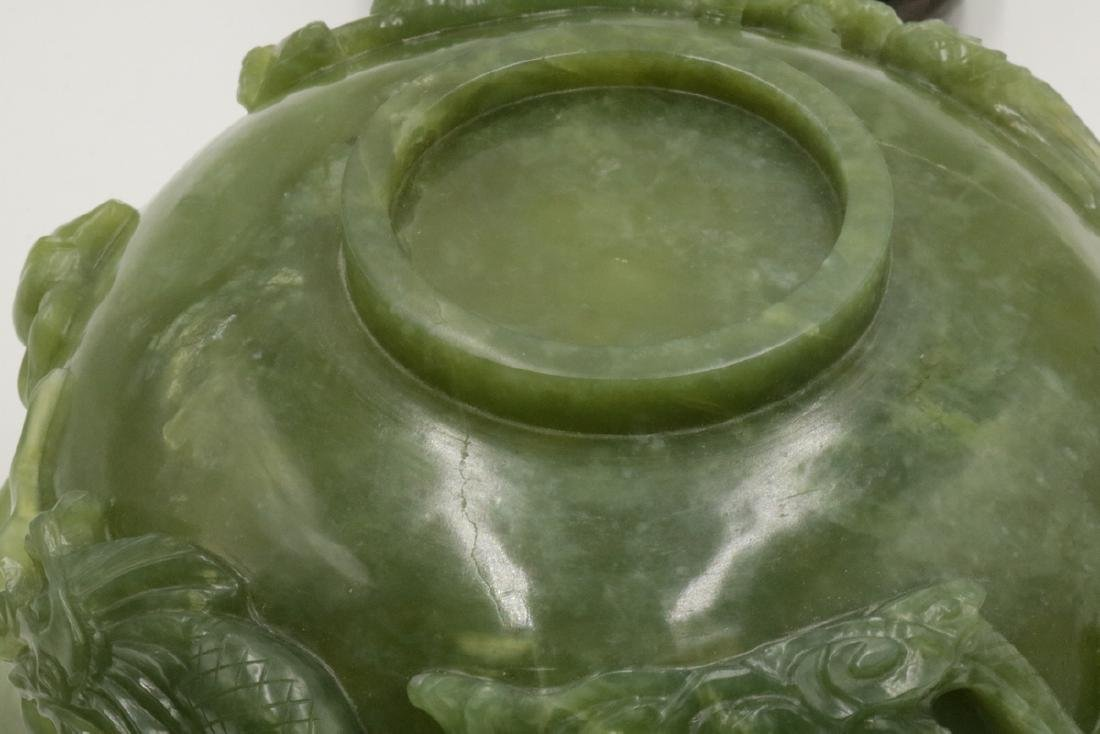 Chinese Carved Dragon Jade Bowl - 7