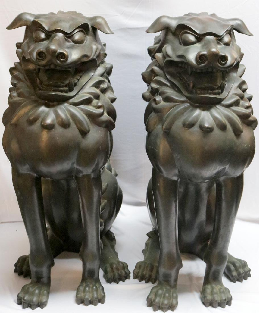 Vintage Palace Size Chinese Bronze Foo Dogs