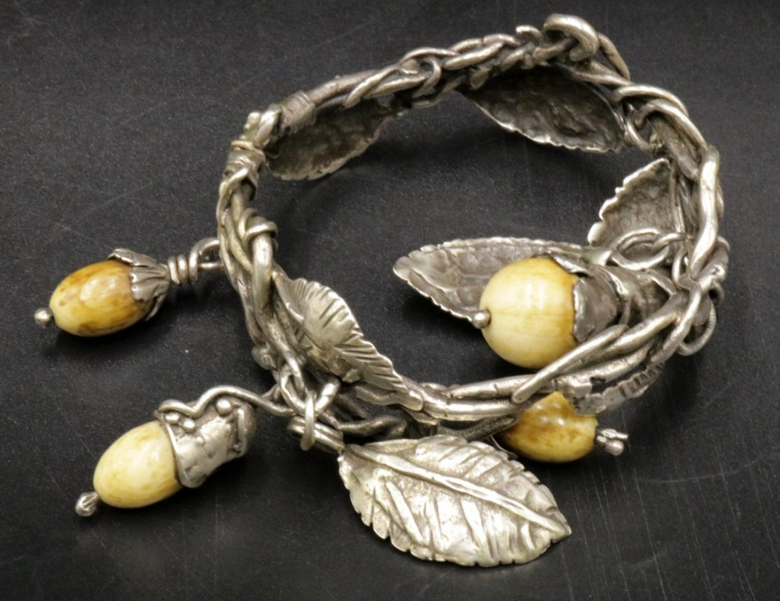 Antique Brutalist Sterling & Bone Charm Bracelet