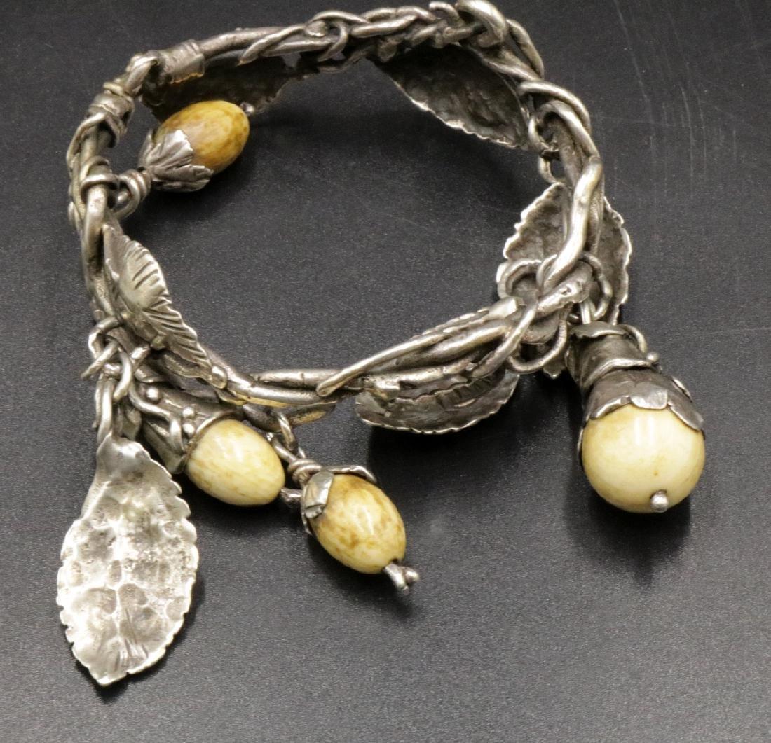 Antique Brutalist Sterling & Bone Charm Bracelet - 2