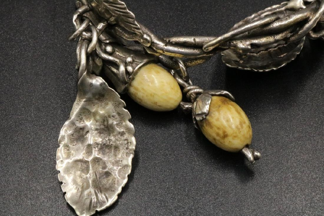 Antique Brutalist Sterling & Bone Charm Bracelet - 3