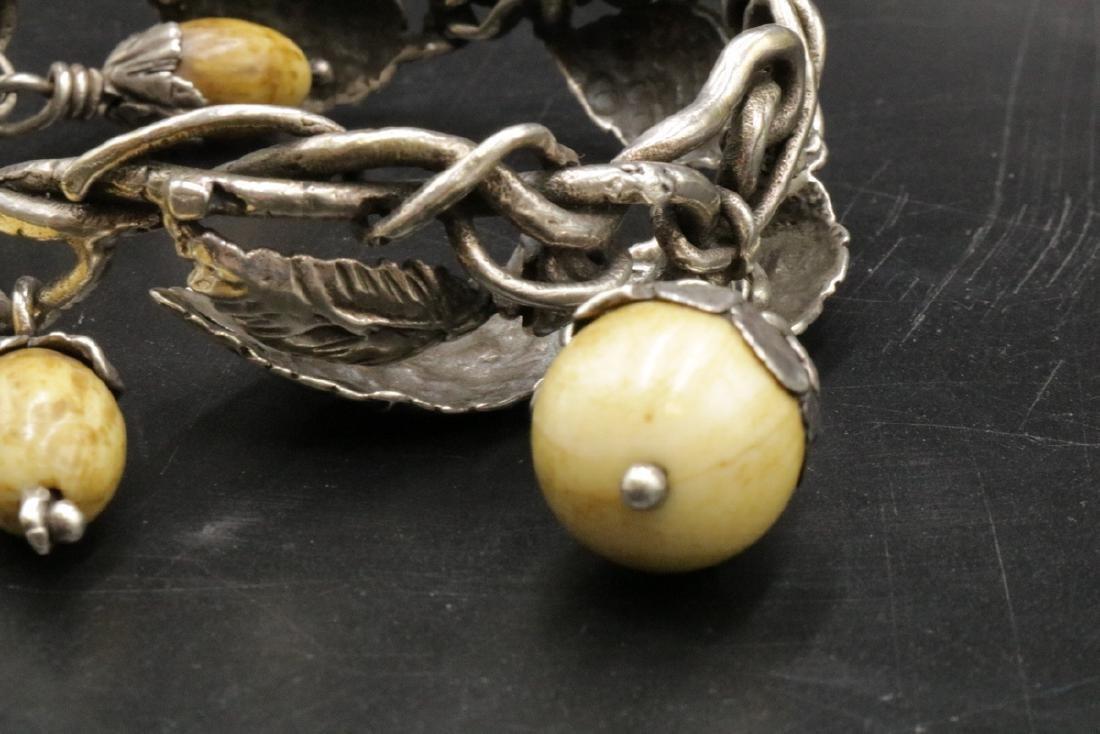Antique Brutalist Sterling & Bone Charm Bracelet - 4