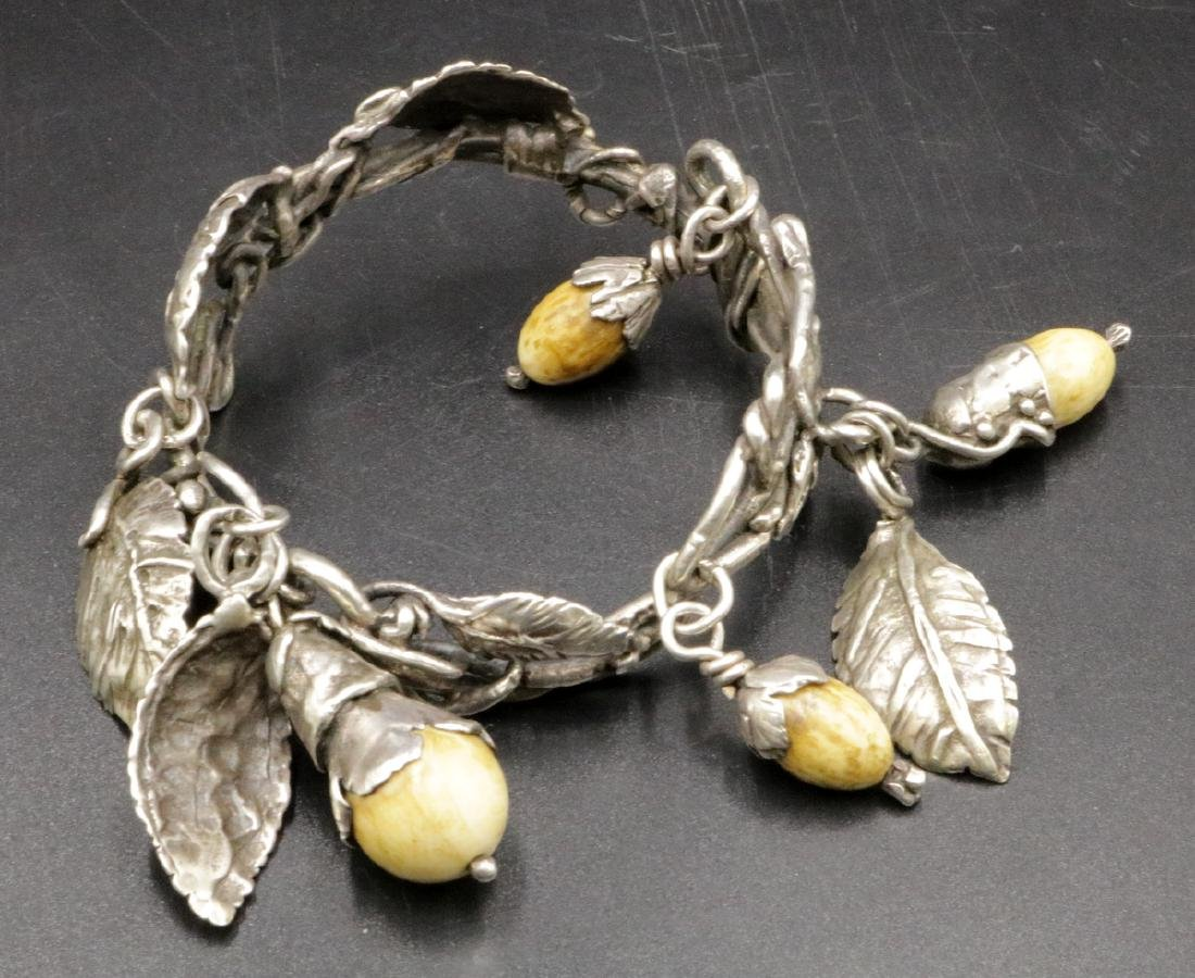 Antique Brutalist Sterling & Bone Charm Bracelet - 6