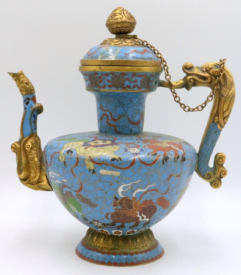 Early 20th C. Chinese Cloisonne Enamel Dragon Tea Pot