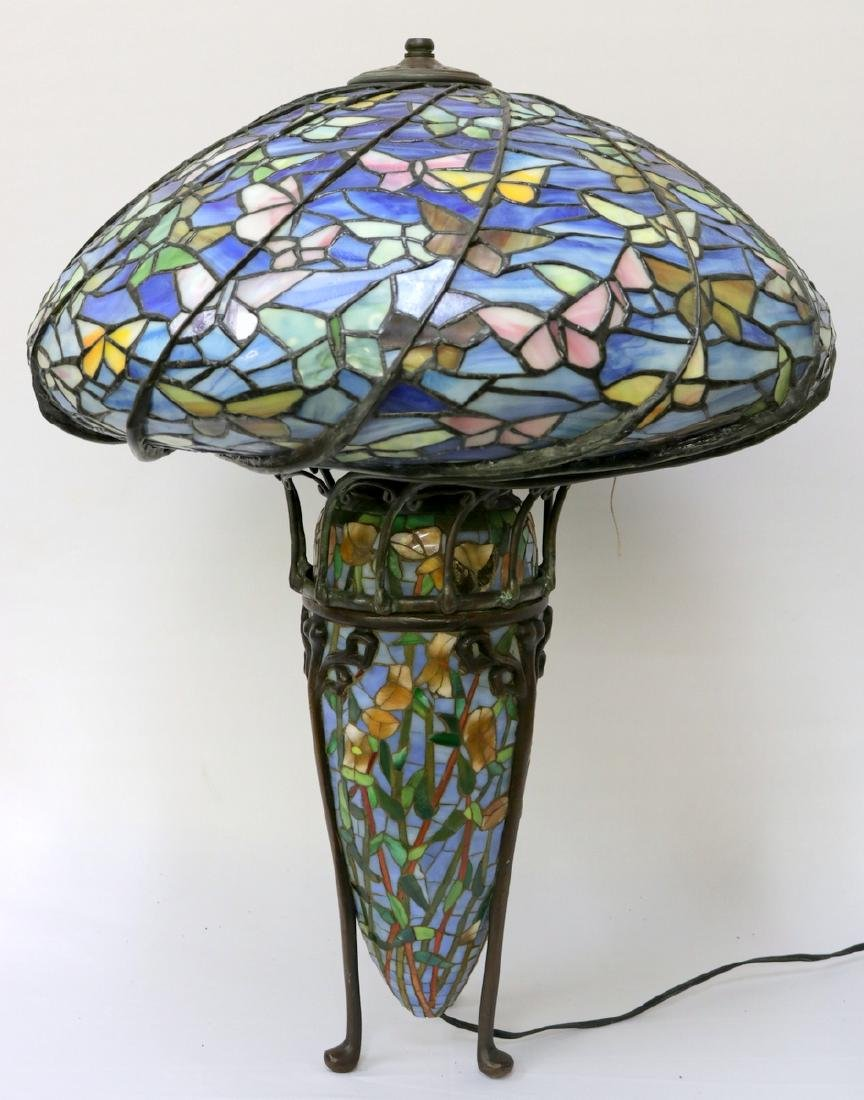 Vintage Tiffany Studios Style Stained Glass & Bronze